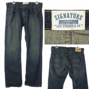 SIGNATURE LEVI Jeans Mens Slim Straight Dark Wash